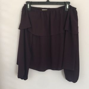 Aritzia Long Sleeve Purple Off the Shoulder Blouse